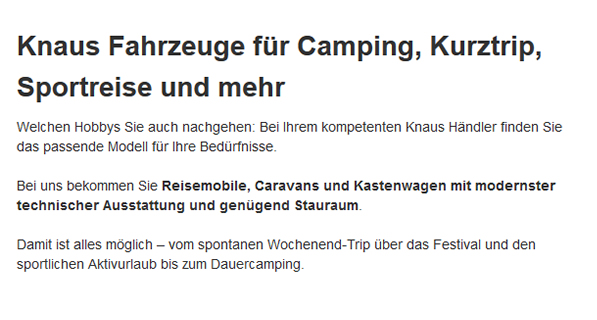 Campingfahrzeuge für  Tussenhausen