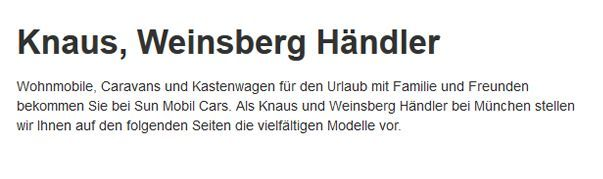 Knaus-Weinsberg-Kastenwagen für  Essenbach